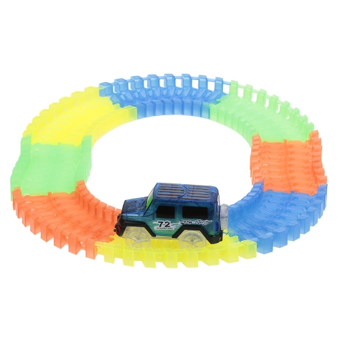 64PCS Twisted Tracks 45mm Flexible Assembly Neon Glow in Darkness Track Race Car for Kids