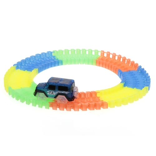 64PCS Twisted Tracks 45mm Assemblaggio flessibile Neon Glow in Darkness Track Race Car per bambini
