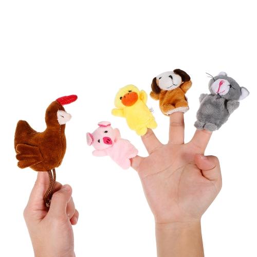 5本の動物の指人形小さな赤い鶏の妖精のぬいぐるみの指の人形の子供赤ちゃん早期の教育おもちゃ