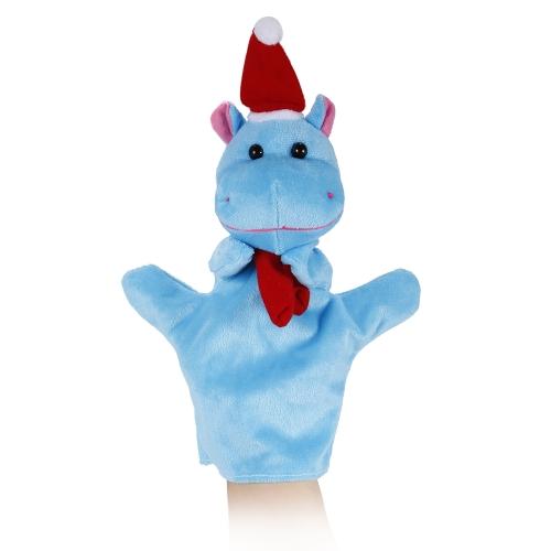 動物の手の人形かわいい漫画のクリスマスカバのぬいぐるみ手のぬいぐるみ人形子供のクリスマスギフトのおもちゃ