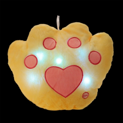 Kreatywne świecące LED Light Night Bear's-Paw Kształt Pluszowa poduszka Nadziewane zabawki