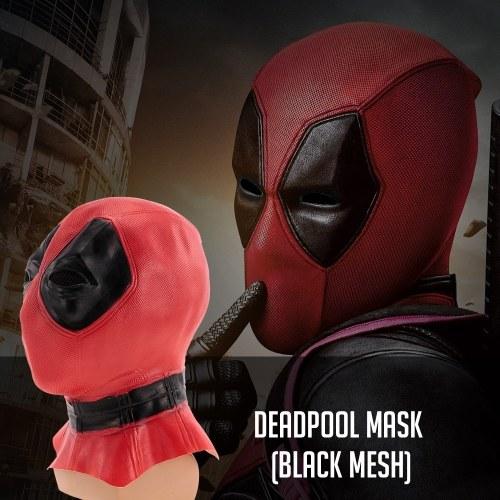 Deadpool Mask w/ Black Mesh Latex Costume Mask Headgear for Halloween Cosplay Party Decoration Backroom Film Props