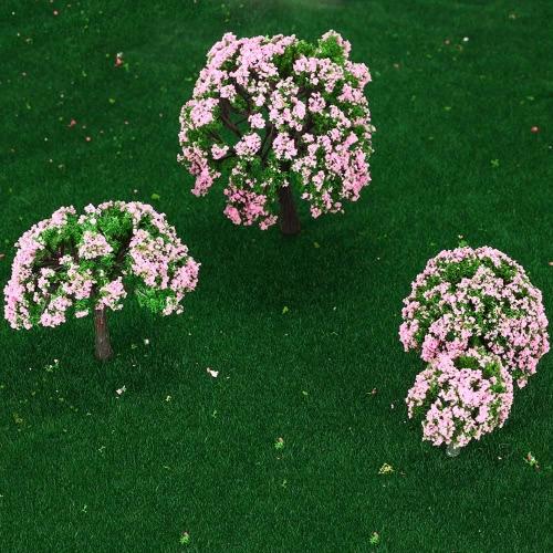 4 個セット プラスチック モデル木鉄道レイアウト庭風景ジオラマ ミニチュア ピンクの木の白とピンクの花