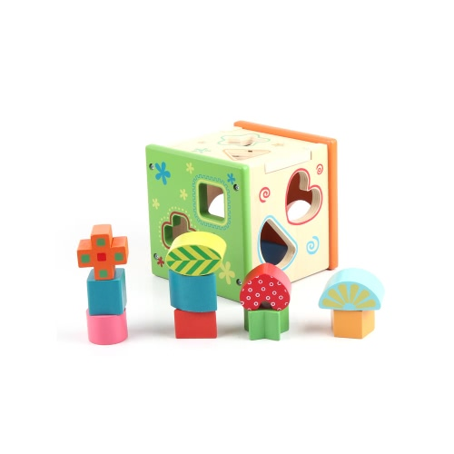 Colorful Intelligence Box Finely Crafted Wood Shape Sorting Cube Box Educational Toy for Toddlers & Young Children