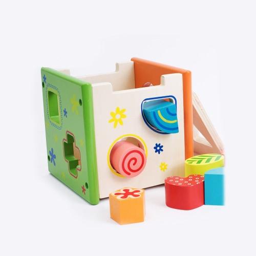 カラフルなインテリジェンスボックス細かい工芸木製シェイプ並べ替え幼児&幼児のためのキューブボックス教育玩具