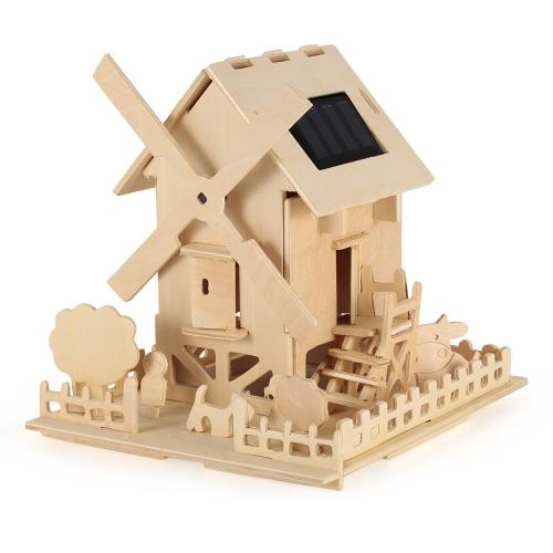 子供のためのソーラーパワー木製飛行機ルーム車の装飾の贈り物子供の教育平面のおもちゃ