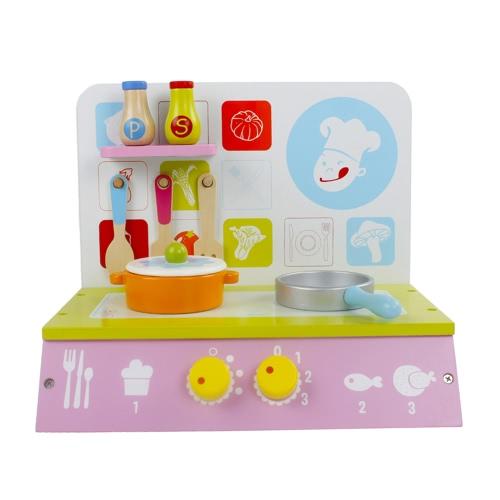 Giocattoli di cucina verde in legno impostati con panca e pentole da cucina I bambini pretendono giocare a giochi Giocattoli per accessori da cucina
