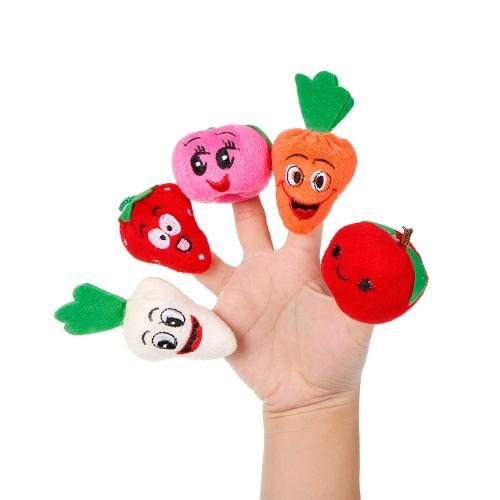 10本の指人形の果物や野菜かわいい漫画のぬいぐるみ指人形の子供赤ちゃん早期の教育おもちゃ