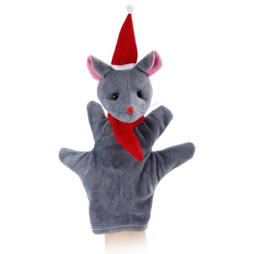 動物の手の人形かわいい漫画のクリスマスのマウスのぬいぐるみ手のぬいぐるみ人形子供のクリスマスギフトのおもちゃ