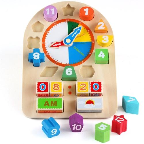 Orologio digitale a geometria in legno 12 numeri giocattolo orologio orologio tempo e tempo di apprendimento giocattolo educativo