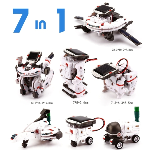7 in 1 Educational Solar Power Robot DIY Kid Toys Science Hobbies Kit Souptoys Rechargeable Space Fleet Model Toy