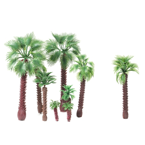 15pcs Layout Model Train Palm Trees Scala 4-16cm Paesaggio Paesaggio Garden Decor
