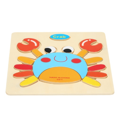 Crab Shaped Puzzle Wooden Blocks Cartoon Toy for Children Baby Kids Intelligence Educational Toy