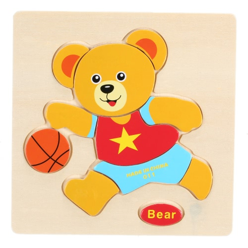 Bear Shaped Puzzle Wooden Blocks Cartoon Toy for Children Baby Kids Intelligence Educational Toy