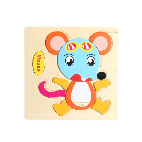 Mouse Shaped Puzzle Wooden Blocks Cartoon Toy for Children Baby Kids Intelligence Educational Toy