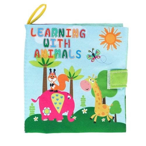 Coolplay赤ん坊の最初ファブリックブック幼児の幼児の学習の動物用洗える柔らかい布帳スクイークラトルクリンクル玩具