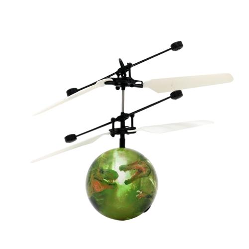 Sensore intelligente luminoso levitato Dinosaur Flyball Azione Aerocraft Flash Flying elicottero palla induzione infrarossa Colorful LED Disco Light-Up Giocattoli giocattolo per bambini Regalo di Natale
