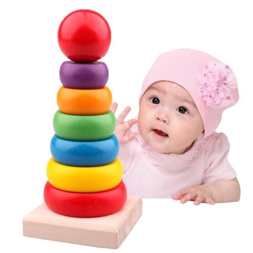 Wooden Stacking Ring Tower Regenbogen Ring Tower Stack Up Spielen Pädagogische Spielzeug