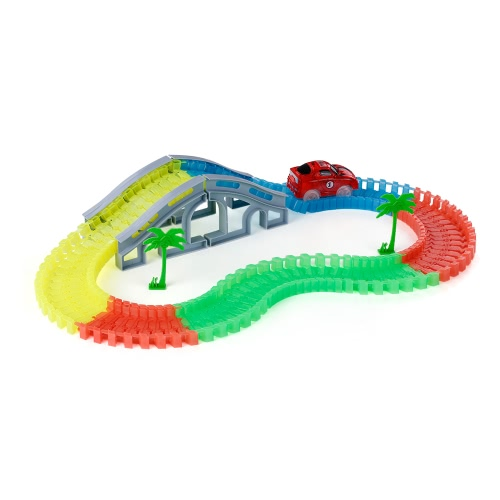 103PCS 55mm Twisted Tracks Assemblaggio flessibile Neon Glow in the Dark con Bridge Track Race Car per bambini
