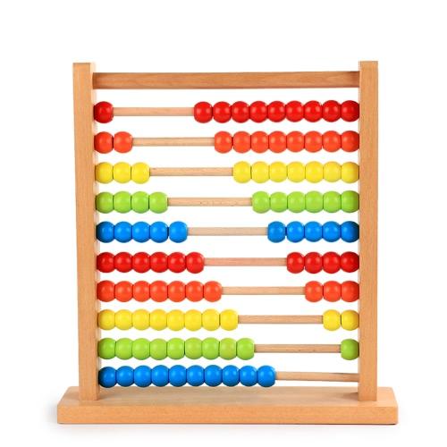 Números de madera del ábaco del arco iris que cuentan las cuentas de cálculo Abacus Matemáticas coloridas del marco Matemáticas Aprendizaje temprano Juguete
