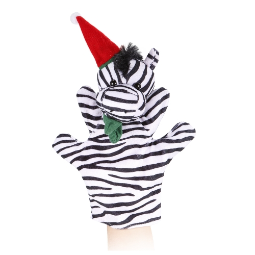 動物の手の人形かわいい漫画のクリスマスシマウマのぬいぐるみ手のぬいぐるみ人形子供のクリスマスギフトおもちゃ