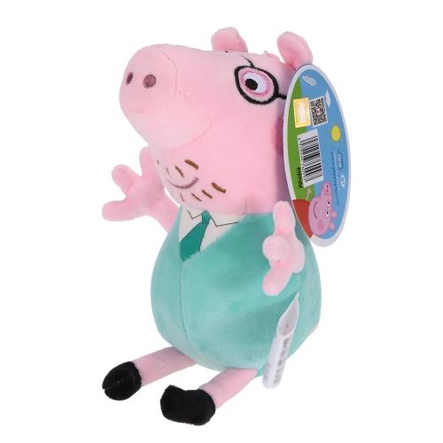 子供のためのオリジナルブランドのペッパーピッグ19cmのお父さんのバッグのペンダントキーホルダーぬいぐるみのおもちゃの家族パーティークリスマスの新年の贈り物