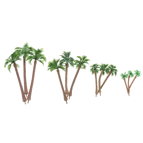 12pcs Layout Landscape Scenery Garden Decor Modello Train Palm Trees 6-14cm