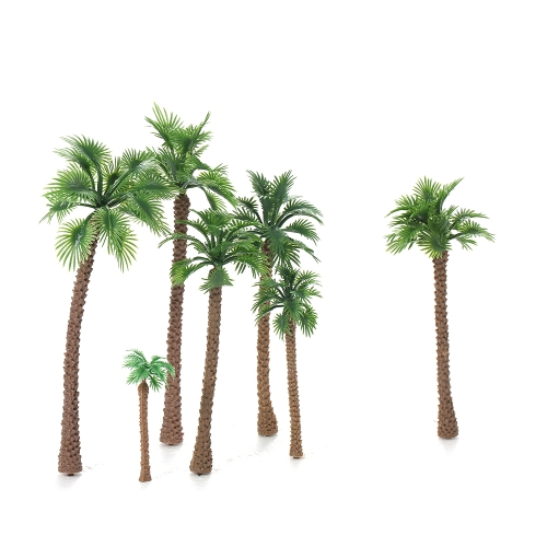 12pcs Layout Landscape Scenery Garden Decor Model Train Palm Trees 6-14cm