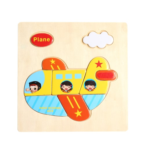 Plane Shaped Puzzle Wooden Blocks Cartoon Toy for Children Baby Kids Intelligence Educational Toy
