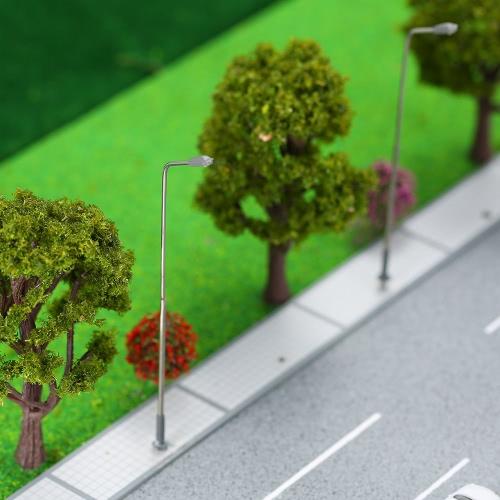 10 Sztuk Metalowe Ulice Modelowanie Lamp Pojedyncze światło LED Lampa Lamppost Model Railway Street Lighting 3V DC