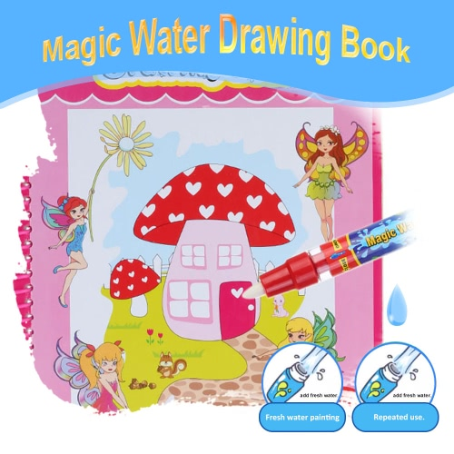 Non-toxic Magic Water Drawing Book Coloring Book Doodle with Magic Pen Butterfly Princesses Series Painting No Ink Educational Toy