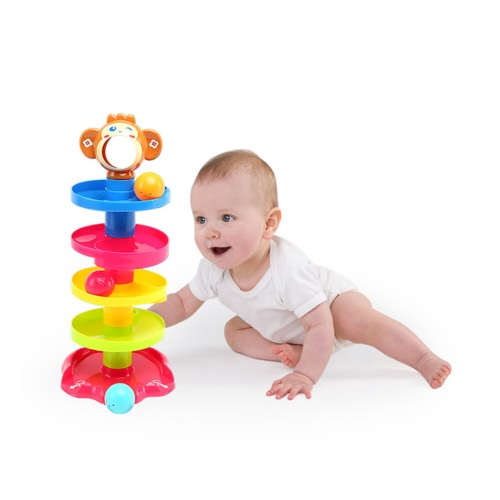 Baby Childern Tower Puzzle Rolling Ball Bell Stackers Kids Developmental Toy