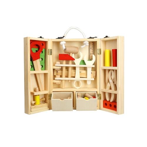 Wooden Carpenter's Tool Set Wooden Workshop Tool Storage Pretend Toy Set For Kids' Manipulative Ability Training