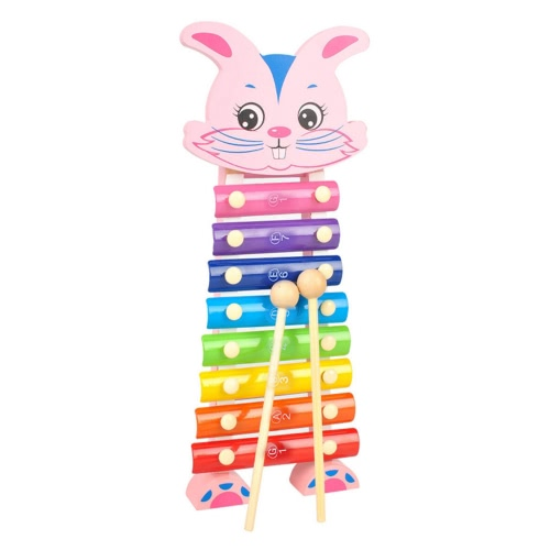 Rabbit Hand Knocks Xylophone Hand Knocks Jean Musical Instrument Toys Music Ability Training Wooden Percussion Instruments