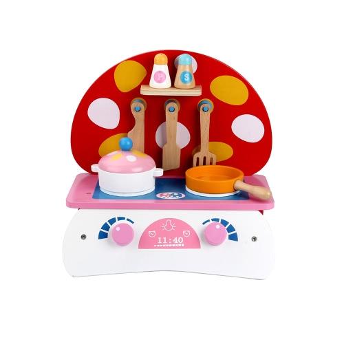 木製のキッチンおもちゃの食べ物の料理のおもちゃ赤ちゃんのふり遊ぶ小さなキノコのふり遊びおもちゃ子供のための早期教育おもちゃ