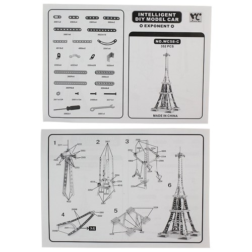 352Pcs Eiffel Tower Intelligent Construction Set 3D Metal Model Kit DIY Gift Model Building Educational Toys