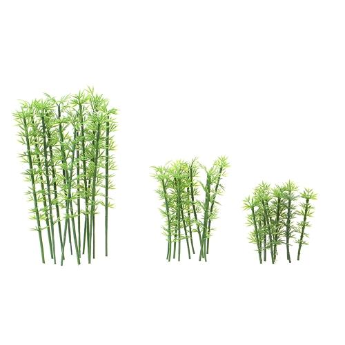 Juguete para niños 100 piezas Modelo de plástico verde Bambú Escala de árboles 1: 75-1: 300 Decoración del jardín Tren paisaje Paisaje