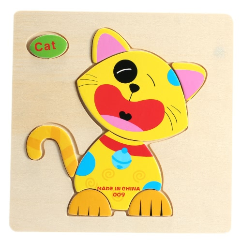 Cat Shaped Puzzle Wooden Blocks Cartoon Toy for Children Baby Kids Intelligence Educational Toy