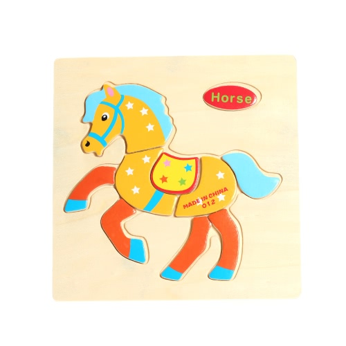 Horse Shaped Puzzle Wooden Blocks Cartoon Toy for Children Baby Kids Intelligence Educational Toy