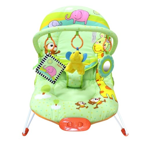 Ametoys Baby Infant Bouncer Seat Rocker Snoothing Vibration Rocking Chair Adjustable Backrest with Toy Bar Green Zoo Pattern 51 * 78 CM