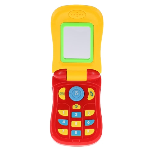 Coolplay colorato bambino di musica cellulare giocattolo telefono cellulare a conchiglia Diario caso della copertura musicale del telefono cellulare mobile Intellecture Enlightment giocattolo con luci e uno specchio
