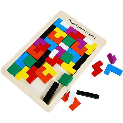 40Pcs Colorful Wooden Tangram Jigsaw Brain Tetris Block Intelligence Puzzle Russian Block Intellectual Toy for Kids