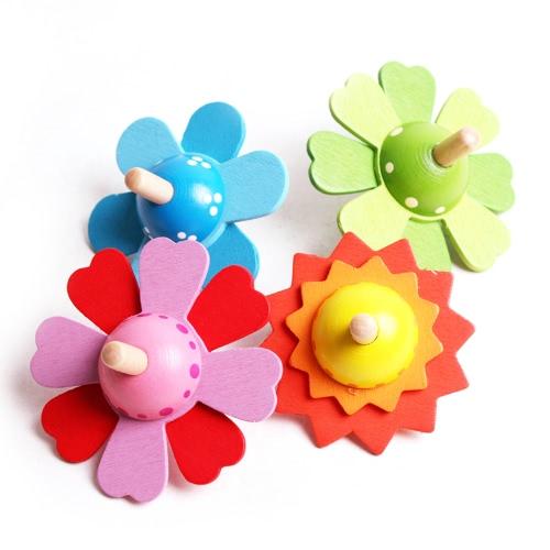 4Pcs hölzernes spinnende Oberseiten-Blumen-Typen hölzerner Kreiselkompaß Buntes drehendes Gyroskop-spinnendes Spitzenspielzeug für Kinder