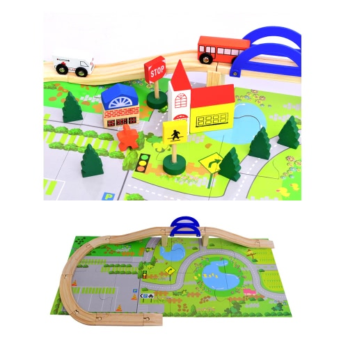 40 Pcs Preschool Urban Rail Toy Overpass Traffic Scene Children Educational Wooden Toy Train Track Railway Toys Set for Kids