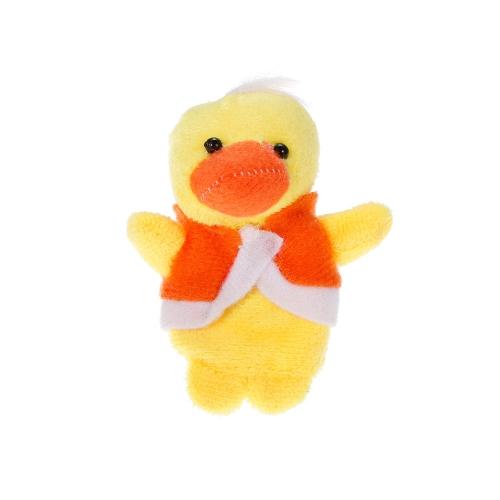 6本の動物の指の人形かわいい漫画の鴨のぬいぐるみの指の人形の子供赤ちゃん早期の教育おもちゃ