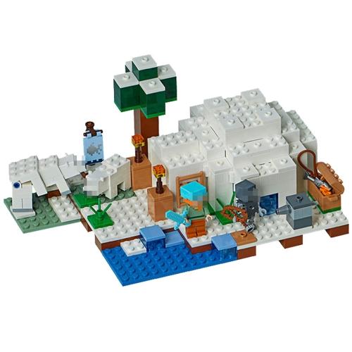 Oryginalne pudełko LEPIN 18037 311szt Minecraft Series Zestaw klocków modelarskich Pollo Igloo
