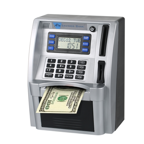 Simulation Mini ATM Safe Password Box Electronic Money Bank US Cash Bill Coin Can Saving Banks for Kids Children Calendar Clock