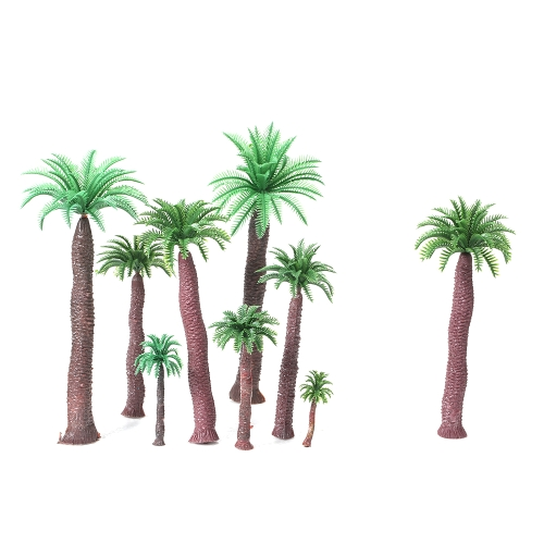 18pcs Plastic Model Tree Palm Trees Train Coconut Rainforest Scenery Miniature Layout Home Garden Decor
