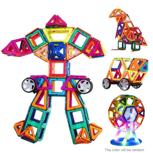 Zabawki magnetyczne 108 sztuk plastikowych klocków 3d bloki budynków zestawy diy dzieci zabawki edukacyjne modelu