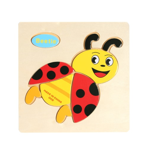 Beetle Shaped Puzzle Wooden Blocks Cartoon Toy for Children Baby Kids Intelligence Educational Toy